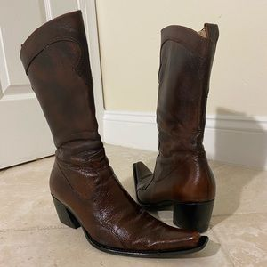 Brown Cowgirl Boots - Snip Toe Genuine Leather 8